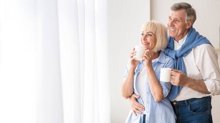 Happy senior couple drinking tea near window and embracing, free space