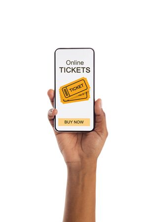 Event Tickets App On Phone Screen In Black Female Hand Isolated On White Studio Background. Closeup, Empty Space Stockfoto