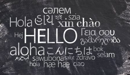 Hello text on Different languages chalk writing on chalkboard, advertisement of school