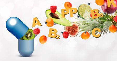 Aditivo alimentario saludable. Tableta de vitamina con componentes voladores sobre fondo blanco, panorama Foto de archivo