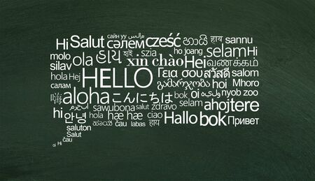 Speech bubble of white hello words on different languages on green chalkboard Stok Fotoğraf