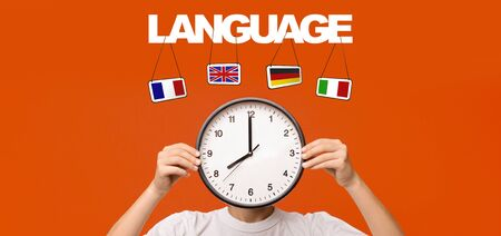 Time to learn languages. Boy holding clocks instead of head on orange background, panorama