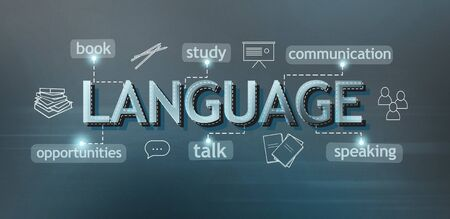 Language courses advertisement with different possibilities on blue background, panorama Stok Fotoğraf