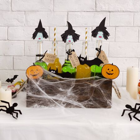 Close up of funny Halloween background with three witches in wooden box covered by spiders web