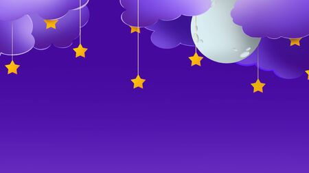 Good night background. Blue sky with moon, clouds and little stars, creative picture with empty space Stock Photo