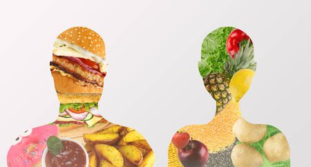 Nutrition choice. Unhealthy food inside man vs healthy product in woman, panorama