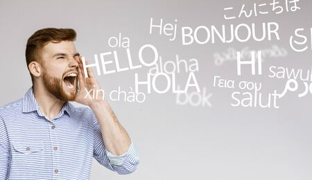 Shouting guy. Crazy emotional man screaming hello in many different languages, panorama