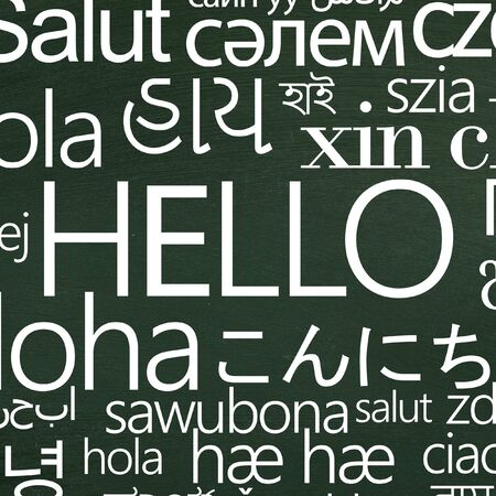 International greeting. Word Hello in different languages for school advertisement on green background Stok Fotoğraf