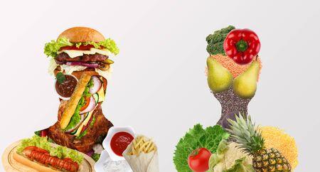 Alimentos no saludables vs concepto de collage de alimentos saludables. Siluetas de hombre y mujer con diversos productos sobre fondo blanco, panorama