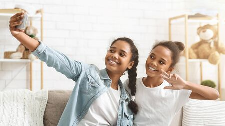 Different ages black african sisters having fun, using application, holding smartphone, taking selfie at home, panorama with copy space 写真素材