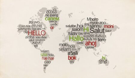 Creative map with different languages on special countries on white background Stok Fotoğraf