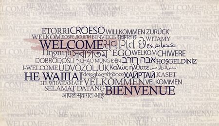 Speek free on different languages starting with Word welcome on background