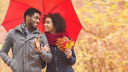 Family walk. Afro couple under umbrella at rainy day, dating in park, copy space