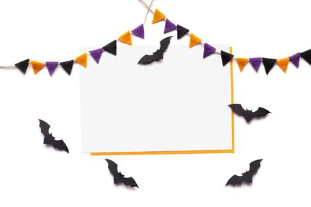 Web banner. Greeting card with empty space for advertisement and flying black bats