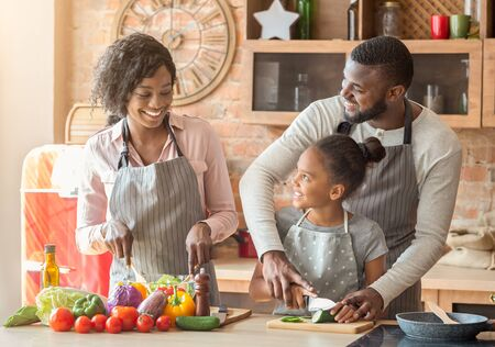 African american man teaching daughter how to cut vegetables, mom making salad, talking while cooking in kitchen, free space Фото со стока