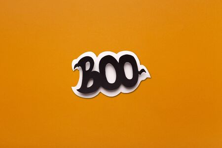 Boo creative text on Halloween background, copy space