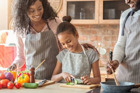 Kids at kitchen. Pretty little black girl cutting cucumber, helping parents with dinner, making healthy food, cropped, empty space Stockfoto
