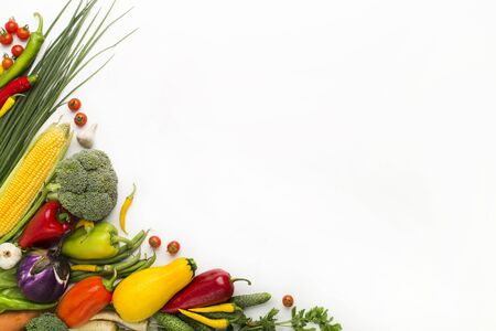 Healthy nutrition. Vegetables creating a frame on white background, copy space