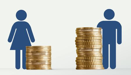 Gender pay gap, male and female signs near different stacks of coins, man get bigger salary, panorama, free space