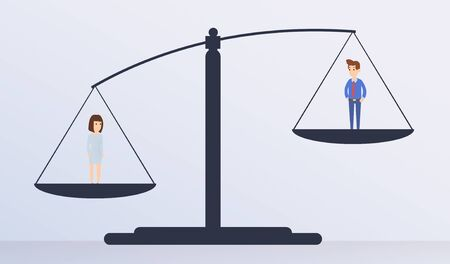 Career success, competition, gender gap and employment issues. Man figure outweigh Woman on scales, panorama