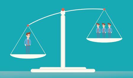 Concetto di equilibrio aziendale con un uomo contro un gruppo di persone su scale