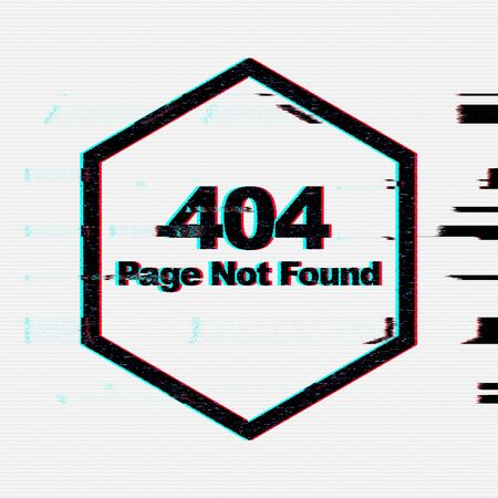 Page not found. Illustration of error 404 with glitch effect on screen, abstract design on light background