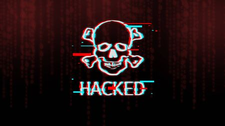 Cyber danger concept. Skull and bones, pirate icon with inscription hacked over dark background with binary code digits, panorama with copy space 写真素材