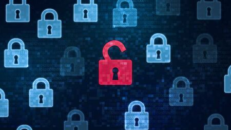 Security breach concept. Red open padlock icon among closed padlocks on digital screen as a symbol of unsecured data under cyber attack, panorama Standard-Bild