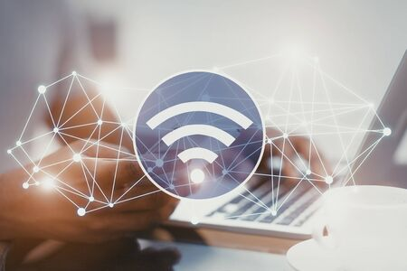 Wireless communication and blockchain concept. 2d illustration of wifi icon with network connections, female with smartphone and laptop blurred in background. Stock fotó