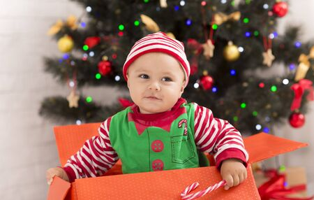 Curious baby searching Christmas presents in big box under Xmas tree, free space Stock Photo