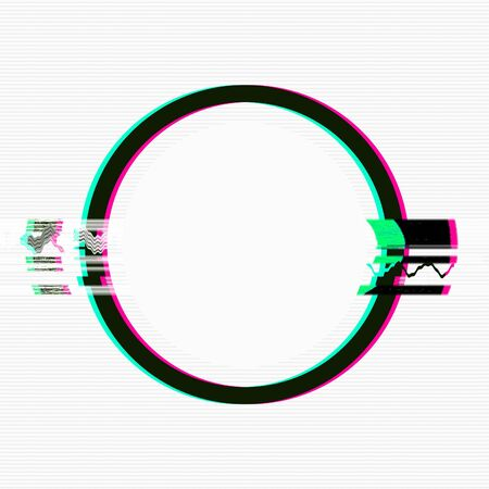Collage of creative abstract circle frame on white background, template for design