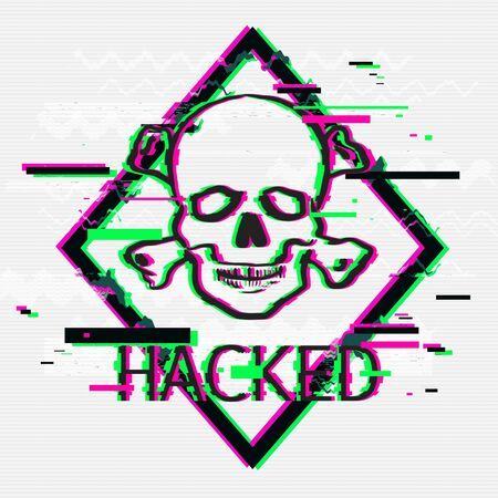 Hacked concept. Rhombus with skull and bones illustration in glitch graphic style over white background