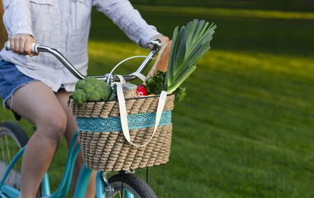 Healthy lifestyle. Woman riding a bike with fresh vegetables over park with green grass, copy space