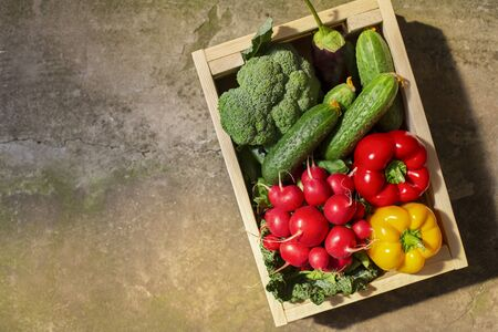 Vegetables full of vitamins in eco wooden box on concrete floor Stock Photo