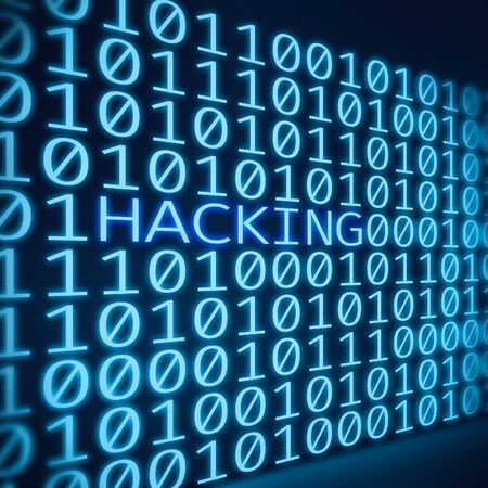 Cyber attack concept. Inscription hacking between binary code digits on abstract blue digital screen Stock Photo