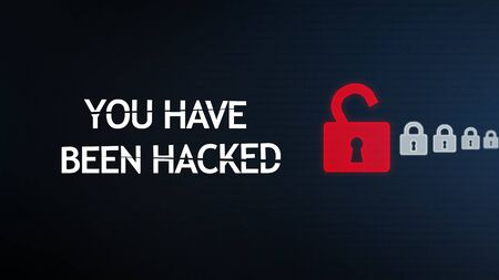 Hacking concept. You have been hacked warning on digital screen with open and locked padlocks over dark binary code stream background, panorama