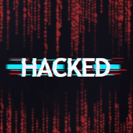 Cyber Attack Concept. Inscription hacked in glitch distortion style over red binary code stream background
