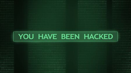 You have been hacked warning on digital screen over green binary code stream background, panorama Stock Photo