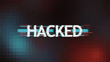 Cyber Alert Concept. Inscription hacked in glitch style over dark pixel background, panorama Stock Photo