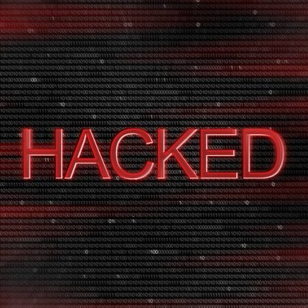 Hacker alert. Hacked inscription over abstract digital binary code stream background in red colors Stock Photo