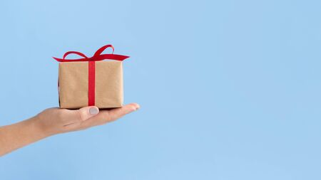Female hands carrying small Christmas present over blue background, panorama, copy space Stock Photo