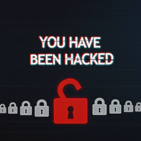 Cyber security breach concept. One open red padlock among white closed locks with you have been hacked inscription on digital screen Stock Photo