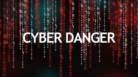 Cyber danger inscription text over red and white binary code stream background, panorama Stock Photo