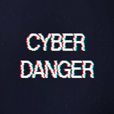 Hacker attack alert. Cyber danger warning text in distorted glitch style over dark textured