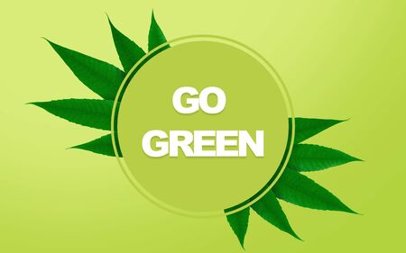 Go Green Sign. Stop environment pollution motivational banner, panorama