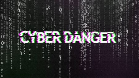 Cyber danger warning text in distorted glitch style over grey binary code stream matrix background, panorama