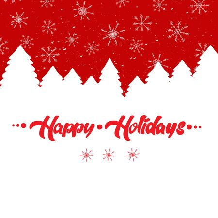 Christmas winter landscape background with greeting text Happy Holidays, free space