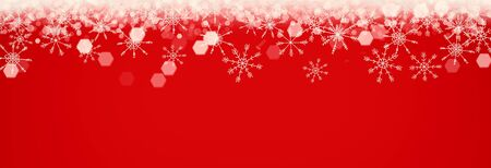 Magical red Christmas background with snowflakes border, panorama, empty space Stockfoto