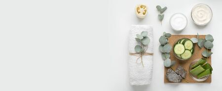 Eco friendly and natural cosmetics. Skin care products of fresh components on white background, panorama, copy space