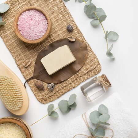 Flat lay of organic cosmetics and eco materials for spa and relax on white background Stock fotó